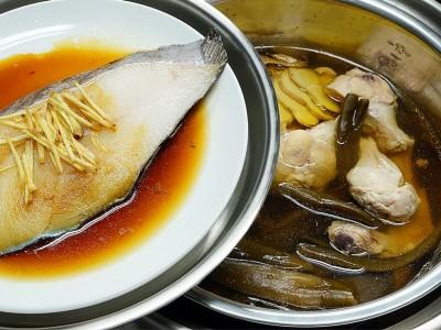 食譜-剝皮辣椒燉雞湯+清蒸鱈魚 (一鍋二菜)