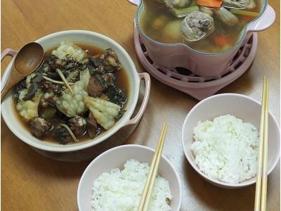 食譜-【電鍋上菜】福菜苦瓜排骨+西式蔬菜雞湯