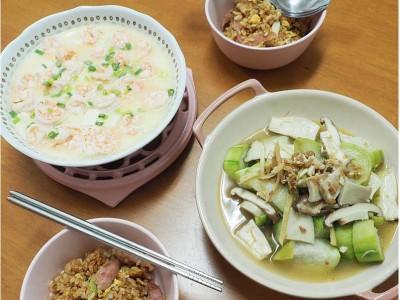 食譜-【電鍋上菜】快速上手一鍋兩菜 XO醬拌絲瓜+蝦仁豆腐蒸蛋