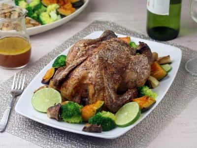 食譜-繽紛聖誕大餐-蒙特婁烤雞、烤時蔬與南瓜乳酪船(四人份)