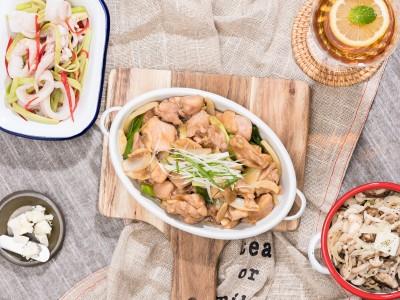 食譜-蔥爆雞丁+芹菜中卷+奶油野菇(一鍋三菜)