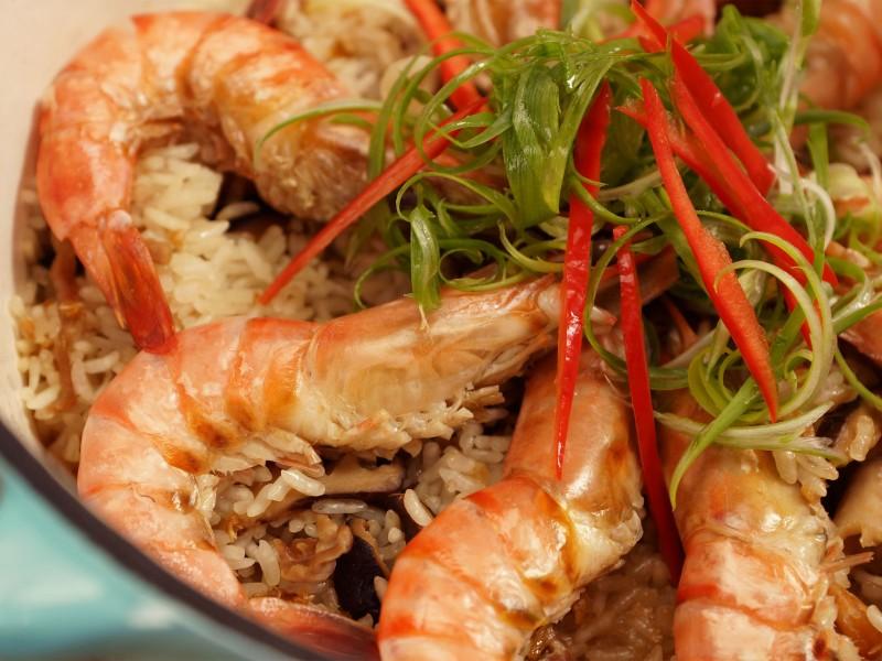 食譜-草蝦香菇油飯