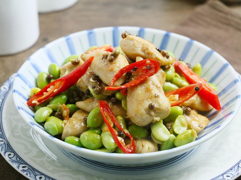 食譜-椒麻毛豆炒雞丁